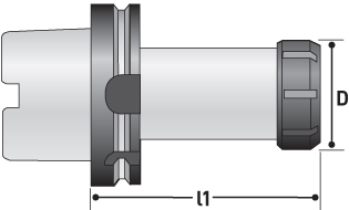 hsk collet chuck diagram showing diameter and length one for table reference