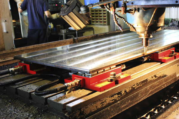 cnc end milling large metal sheet with multiple modular workholding magnets