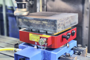 face milling solid steel block with magnetic workdholding