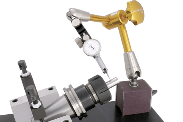techniks indicator arm testing runout on cnc collet chuck