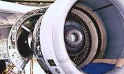jet engine open to show internal mechanisms