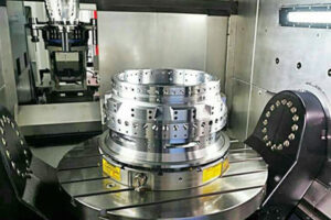circular workholding magnet holding metal body part for aerospace
