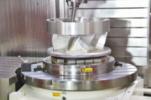 circular workholding magnet holding metal part with internal profiling