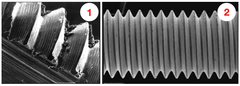 microscopic level view comparing the geometry of rolled vs cut threads